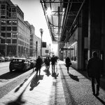 Long shadows on the Friedrichstraße Berlin