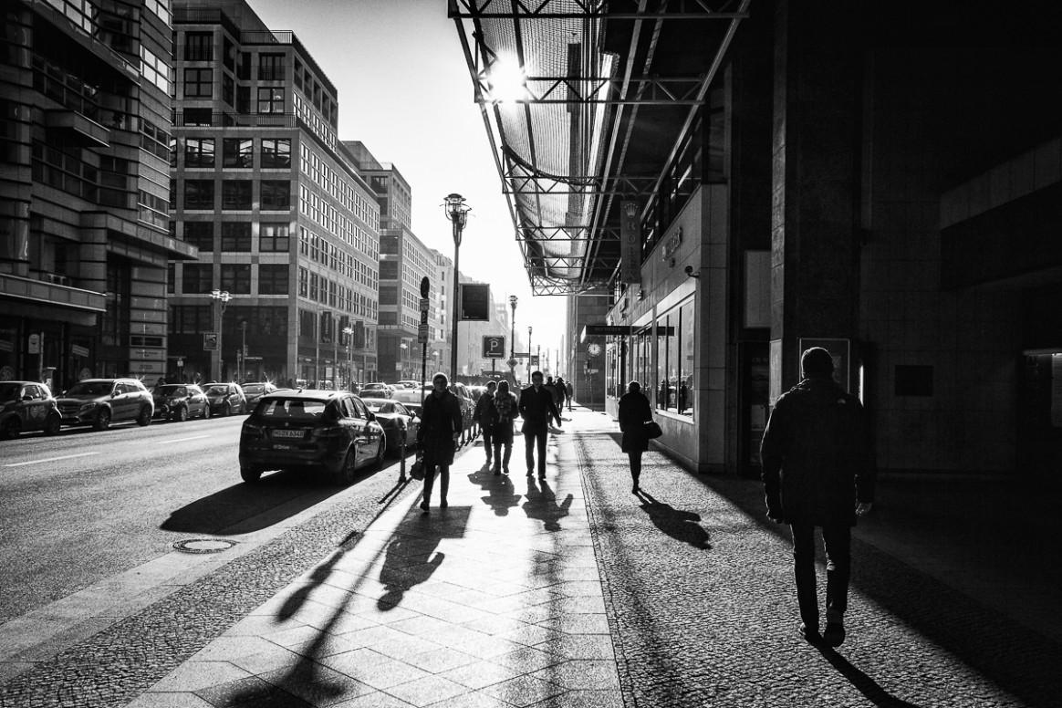 Long shadows on the Friedrichstraße Berlin
